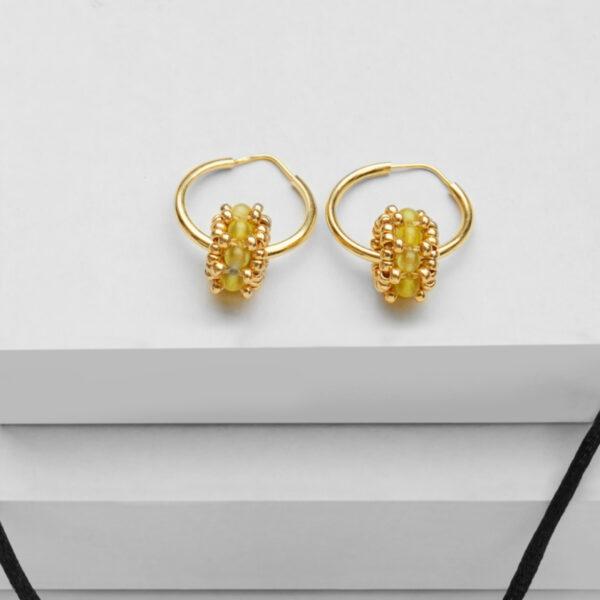 green jade small earring hoops in gold
