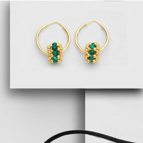 malachite earring hoops