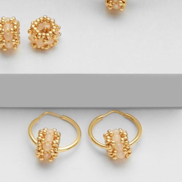 rose quartz earring hoops in gold