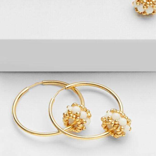 white jade earring hoops in gold